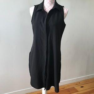 Tops - Black Dolphin Hem Longline Button Up